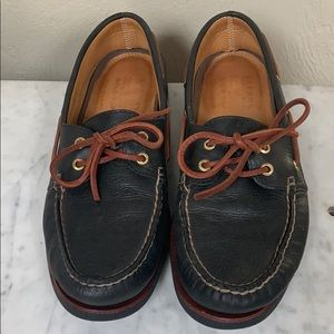 Sperry black leather Top Sider loafers, size 10.5